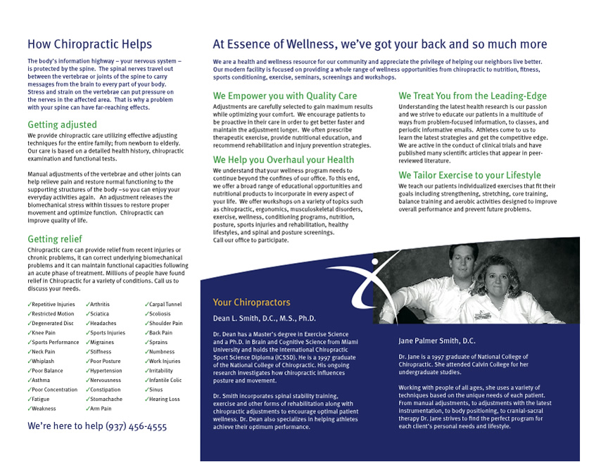 chiropractic brochure back eaton ohio Adjustments